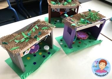 Loofhut knutselen met kinderen, Kindergarten sukkah craft, kleuteridee 2