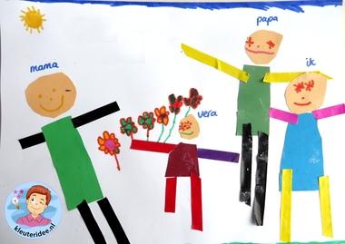 Ons gezin, thema baby voor kleuters, Kindergarten craft, my family craft 2, kleuteridee