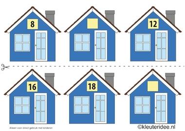 CITOvaardigheden voor kleuters, Welk nummer heeft het huisje in de straat even nrs 3, kleuteridee.nl , What number is the house in the street, free printable.