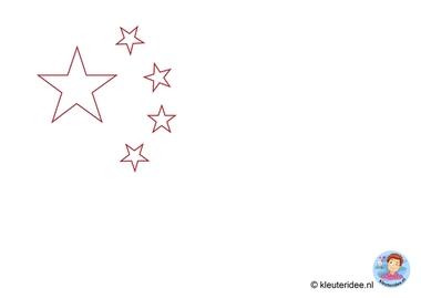 Chinese vlag maken met kleuters, free printable, thema China 4, kijk voor de beschrijving op kleuteridee.nl.