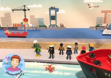 Thematafel de haven 11 , kleuteridee, kindergarten port theme with boats