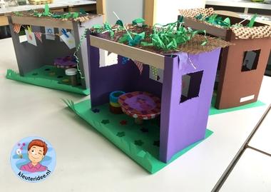 Loofhut knutselen met kinderen, Kindergarten sukkah craft, kleuteridee 4