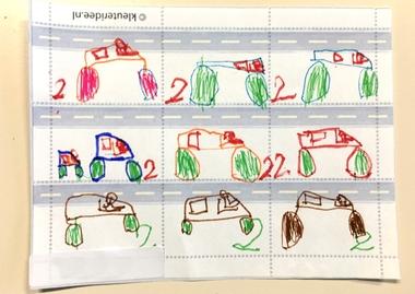 Postzegels ontwerpen met kleuters 2, thema post, kleuteridee.