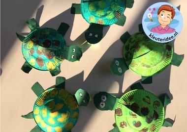 schildpad knutselen, kleuteridee, met gratis download