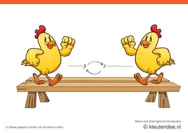 Bewegingskaarten kip voor kleuters 9, Elkaar passeren zonder van de bank te vallen , kleuteridee.nl , thema Lente, Movementcards for preschool, free printable.