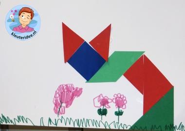 Chinese tangram maken met kleuters 2 poes, thema China, kleuteridee.nl