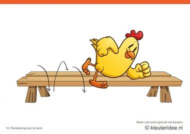 Bewegingskaarten kip voor kleuters 10, Wendsprong over de bank , kleuteridee.nl , thema Lente, Movementcards for preschool, free printable.
