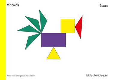 Mozaiek voorbeeldkaarten voor kleuters, haan, kleuteridee.nl , Preschool mosaic patterns, free printable.