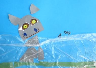 Nijlpaard in het water, thema dierentuin, kleuteridee.nl , Preschool hippo craft.