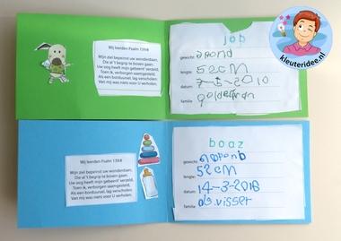 Geboortekaartjes maken 4, thema baby, kleuteridee.nl, Kindergarten baby theme