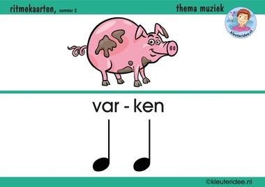Ritmekaart voor kleuters 2 varken, thema muziek, kleuteridee.nl, free download