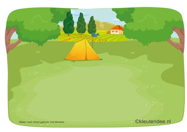 Kaartenset visuele discriminatie en kritisch luisteren voor kleuters 4, thema camping, kleuteridee.nl, preschool visual discrimination, camping theme, free printable.
