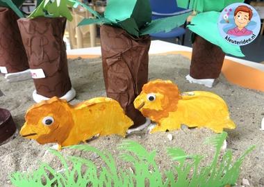 leeuwen kleien met kleuters, kleuteridee, thema Afrika, kindergarten Africa theme 2.