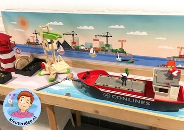 Thematafel de haven 2 , kleuteridee, kindergarten port theme with boats
