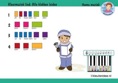 Bladmuziek voor kleuters, lied Alle klokken luiden, thema muziek, kleuteridee.nl, free download