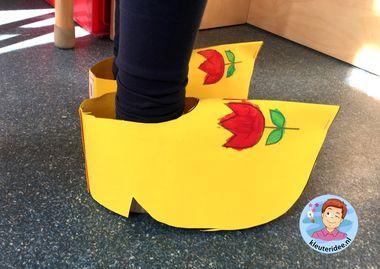 klompen maken, thema Nederland, Dutch shoes, kleuteridee