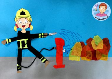 brandweer knutselen, thema brandweer, kleuteridee, kindergarten fir fighters craft