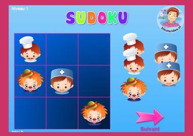 Sudoku beroepen, kleuteridee