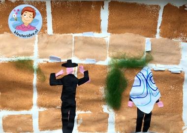 Klaagmuur stempelen met kleuters, Kindergarten Western wall craft, kleuteridee