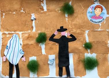 Klaagmuur stempelen met kleuters, Kindergarten Western wall craft, kleuteridee 3