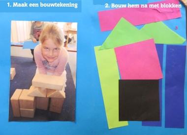 Maak een bouwtekening en maak hem na met blokken 2, thema 'wij bouwen een huis', kleuteridee.nl