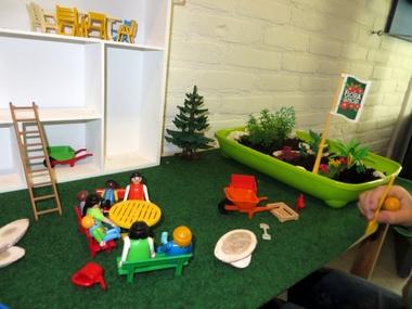 Themahoek bij thema tuincentrum, leg een tuin aan, kleuteridee, juf Petra