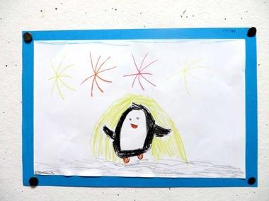 pinguïns tekenen met kleuters vanaf een stap voor stap voorbeeld 3 , kleuteridee.nl