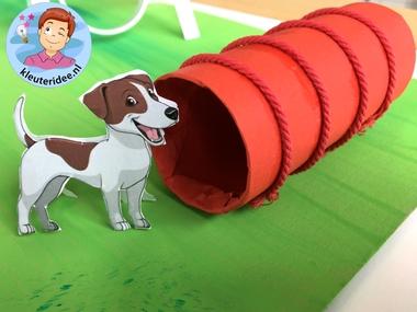hondenschool knutselen, thema de hond, Kindergarten dog agility craft, kleuteridee.nl 3