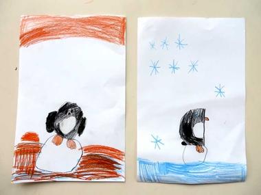 pinguïns tekenen met kleuters vanaf een stap voor stap voorbeeld 2 , kleuteridee.nl