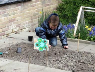 Ideeën voor de schooltuin voor kleuters week 1, kleuteridee.nl , plantuitjes poten.