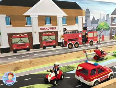 Speelmat brandweer, thematafel, kleuteridee