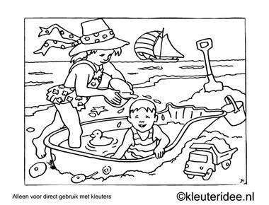Kleurplaat een dagje naar het strand, kleuteridee , Preschool a beach day coloring.