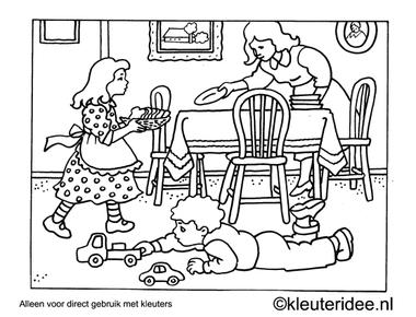 kleurplaat tafel dekken, kleuteridee , Preschool laying the table coloring.