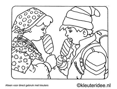 Kleurplaat likken aan een lollie, kleuteridee , Preschool coloring, licking a lollipop.