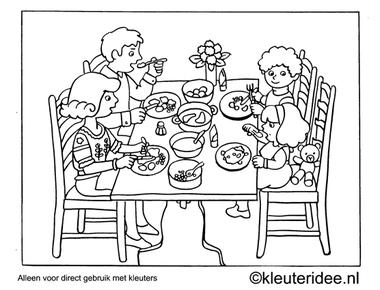 Kleurplaat diner, kleuteridee , Preschool coloring, dinner.