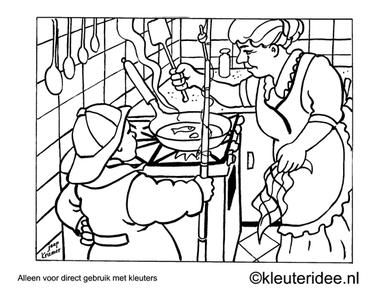 Kleurplaat een visje bakken, kleuteridee , Preschool coloring, frying a fish.