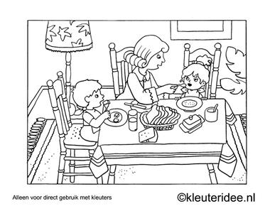 Kleurplaat ontbijt, kleuteridee , Preschool coloring, breakfast.