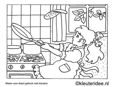 Kleurplaat pannenkoeken bakken, kleuteridee , Preschool coloring, backig pancakes.