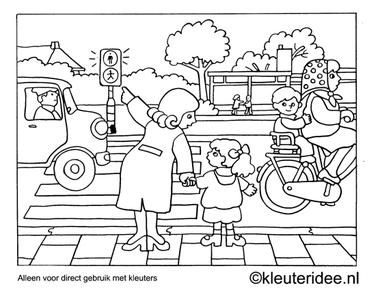 Kleurplaat oversteken, thema verkeer, kleuteridee , Preschool coloring, cross the way.
