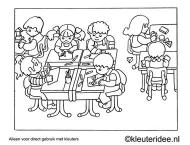 Kleurplaat in de klas, kleuteridee , Preschool coloring, in the classroom.