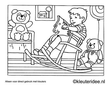 Kleurplaat op het hobbelpaard, kleuteridee , Preschool coloring, on the the rocking horse.