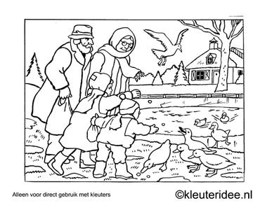 Kleurplaat eenden voeren, kleuteridee , Preschool coloring, feeding the ducks.