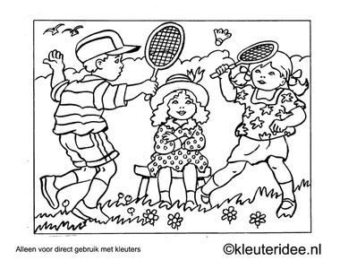 kleurplaat tennis, kleuteridee ,Preschool tennis coloring.