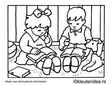Kleurplaat boeken lezen, kleuteridee , Preschool coloring,reading books.