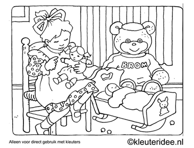 Kleurplaat spelen met pop en beer, kleuteridee , Preschool coloring, playing with bear and doll.