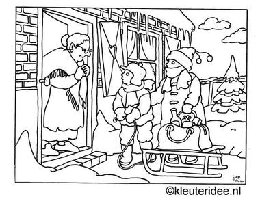 kleurplaat oude mensen helpen in de winter, kleuteridee.nl .