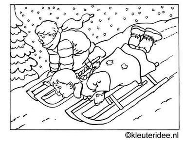 kleurplaat kinderen sleeën in de winter, kleuteridee.nl .