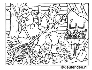 kleurplaat herfst, blad harken, kleuteridee.nl .