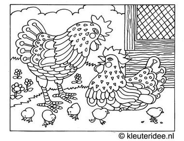 Kleurplaat kuikentjes, thema lente voor kleuters, kleuteridee.nl , spring coloring.