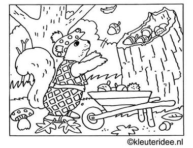 kleurplaat herfst, eekhoorn, eikels, kleuteridee.nl .